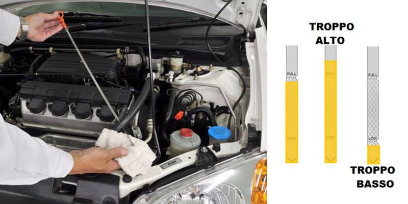 Come controllare il livello olio motore auto